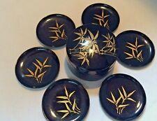 Vintage Japanese Black /Gold Enamel Lacquerware Bamboo Design Box & (6) Coasters