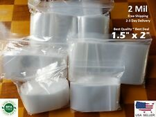 "1.5"" x 2"" CLEAR 2 MIL ZIP LOCK BAGS POLY PLASTIC RECLOSABLE SEAL SMALL BAGGIES"