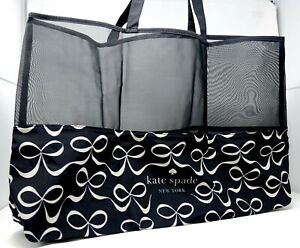 NEW Kate Spade Women's Black White Bow Tie Mesh Large Tote Reusable Bag Shopper