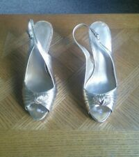 Nine West, Size 6.5M Womens gold shoes heels straps