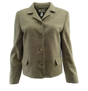 Talbots Womens Blazer Petite 10P Wool Silk Beige Brown Tweed Texture Suit Jacket