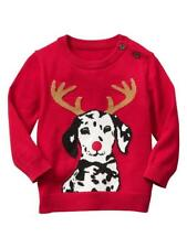New Boys Baby Infant GAP Christmas Intarsia Dog Cotton Sweater Red Knit 3-6M
