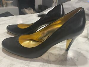 Genuine Ted Baker Leather Black High Heel Court Shoes Size 8 Gold Sole