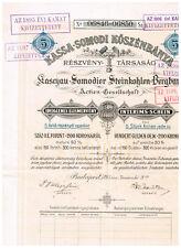 Kaschau-Somodier Steinkohlen-Bergbau AG, Budapest 1893, Interinsschein 5 Actien