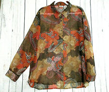LIZ BAKER Women's 2XL Brown Paisley Tunic Semi Sheer Button Down Long Sleeve Top