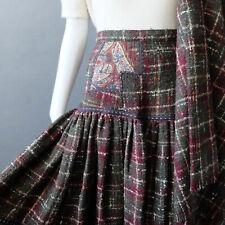 Vintage Koos Van Den Akker Wool Skirt Patchwork 2 pc Set sz 2 4 6 S Shawl Scarf