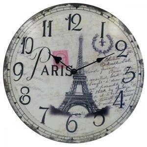 Wall Clock Eiffel Tower Paris Home Decor 12 Inch Round Silent Living Room New