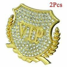 2X Luxury Crystal VIP Gold Metal Side Trunk Badge Emblem Sticker For All Vehicle