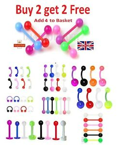 Tongue Bars Bar Plastic Barbell Nipple / Belly Tragus Eyebrow Piercing