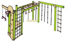 Ninja 5 DIY Playground Kit Climbing Ropes Net Obstacle Rings Monkey Bars Ladder