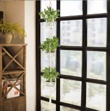 More details for 3 layer macrame plant hanger flower pot holder hanging jute rope wall art garden