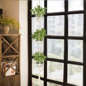 3 Layer Macrame Plant Hanger Flower Pot Holder Hanging Jute Rope Wall Art Garden