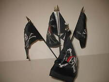 "Jolly Roger Pirate 5 Flag Set 5 Flags 4""x6"" Desk Set Table Stick Black Base"