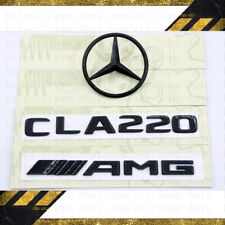MERCEDES BENZ C117 GLOSS BLACK SET REAR AMG CLA220 & LOGO STAR BADGES EMBLEMS