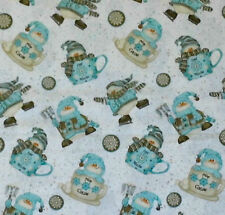 CUTE SNOWMEN CLOTHED IN AQUA & BROWN ON A WHITE B/GROUND - COTTON FABRIC FQ'S