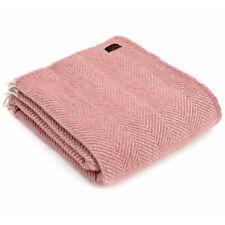 RP£60 TWEEDMILL TEXTILES 100% Wool Sofa Bed Throw HERRINGBONE DUSKY PINK/PEARL z