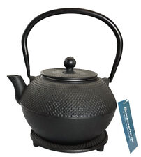 More details for buckingham japanese cast iron teapot kettle tea pot tetsubin hobnail with trivet