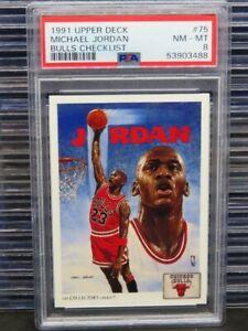 1991-92 Upper Deck Michael Jordan Bulls Checklist #75 PSA 8 NM-MT Bulls D262
