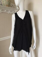 Pas de Calais GORGEOUS! Black Gauzy 100% Cotton A-Line Swing Camisole Top Sz L