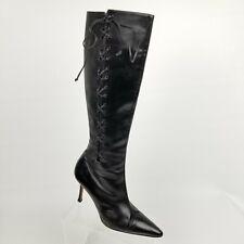 Manolo Blahnik Womens Knee High Boots Lace Up Zipper Black Heels Sz 39 / 8