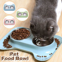 Cat Stainless Steel Puppy Feeder Feeding Bowls Double Water Food Dish Pet Bowl