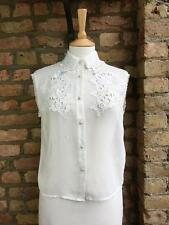 Topshop UK 10 White Sleeveless Sheer Button Up Shirt pearl buttons lace Detail