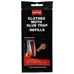 2 x Rentokil Clothes Moth Glue Hanging Trap Refills - Kills Moths in Wardrobe