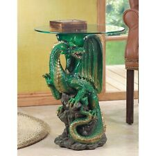 Green Dragon Round Decorative Accent Glass Table Medieval Centerpiece 34738