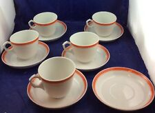 Pillivuyt Tea Coffee Cups and Saucers White Orange Stripes Vintage Mid Century