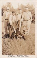 Hunting Postcard RPPC Men + Bear Ray Doyon Baskatong Camps  Quebec Canada