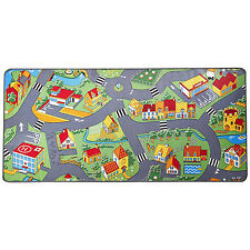 Village Map Kids Play Mat 36x79in Childs Bed Room Carpet Rug Daycare Preschool