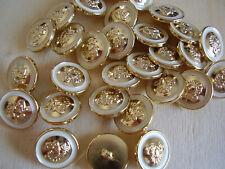 8 Stück Knöpfe Knopf Ösenknopf altgold-perle weiß  12 mm NEU 0274