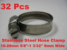 "32 Pcs Stainless Steel Hose Clamp 16-28mm ( 5/8""-1 3/32"" ) 9mm Wide 16 to 28mm"