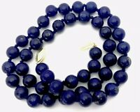 Vintage Hand Knotted 14ct Gold Lapis Lazuli 8.5mm Bead 18 Inch Necklace BOXED