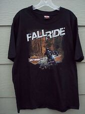 Harley Davidson Mens TShirt Tee Sz L Black Fall Ride Collier Roanoke Falls NC