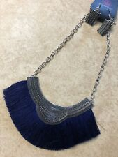 Paparazzi PHAROH Silver Short Necklace BLUE FRINGES-New