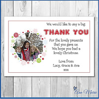10 x THANK YOU PERSONALISED CIRCLE PHOTO CHRISTMAS FOR MY GIFTS CARD ENVELOPES