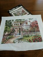 Completed counted Cross Stitch Summer Symphony cottage Bucilla finished garden