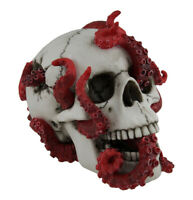 The Abyss Lurks Within Red Octopus Inhabiting a Human Skull Statue