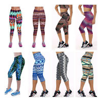 Women's Ladies Capri Fitness Gym YOGA Sports 3/4 Pant Stretch Cropped Legging