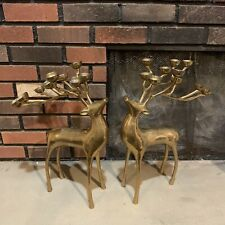 2 Pottery Barn Brass Deer Candle Holder Reindeer Candelabra Christmas Decoration