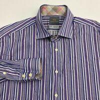 Thomas Dean Button Up Shirt Men's 2XL XXL Long Sleeve Striped Casual 100% Cotton