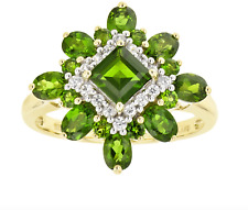 2.15ctw Square Oval Round Chrome Diopside  .22ctw Round  Zirconia 10k Gold Ring