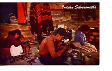 Native American Indian Silversmiths-Jewelry Craft-Inside Hogan-Vintage Postcard