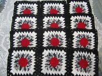 "12-9"" CROCHET GRANNY SQUARES 4 AFGHAN, AFGHANS* RED, SHADED BLACK, WHITE, BLACK"