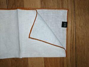 100% Linen White/ Burnt Orange pocket square 33cm hand made rolled border gift