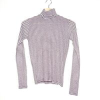 Vintage Etam Womens Striped Maroon Grey Turtleneck Long Sleeve Shirt Size 10/12