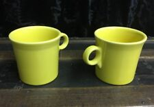 Vintage Fiesta Pale Yellow Tom And Jerry O Ring Handle Mugs Lot Of 2 EUC!