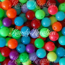 50 pc 10mm Jelly Bubblegum Round Beads bright neon colors for kandi jewelry craf