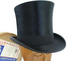 ANTIQUE 1907 LINCOLN BENNETT FINE SILK SHAPED TOP HAT & CHRISTY'S LONDON HAT BOX